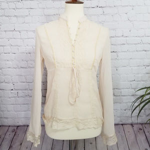 [New York and Co] Cream Sheer Peasant Blouse | 4